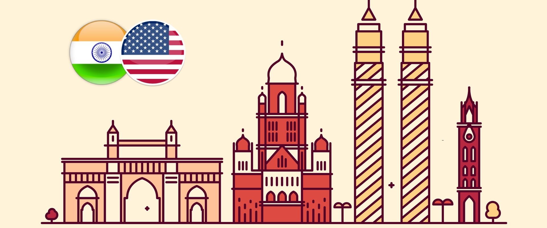 India infographic with Indian and US flag
