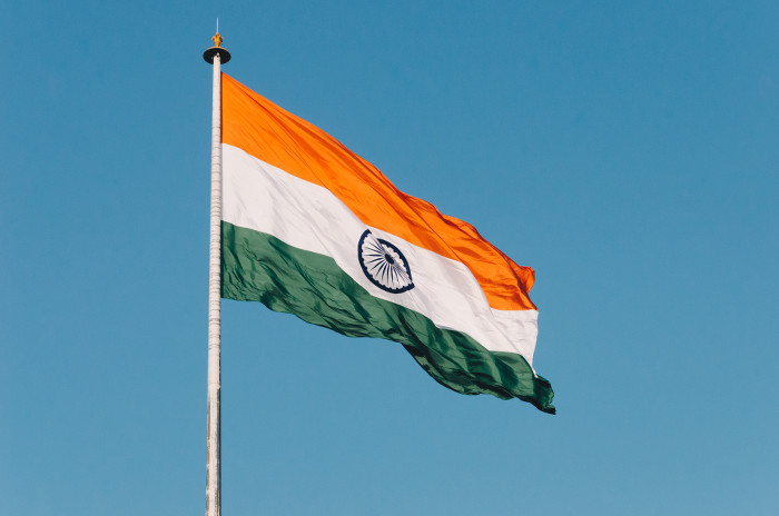 indian flag on flagpole in the wind