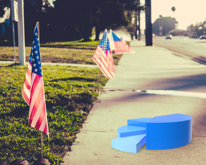 Retro Style Image Of An American Flag On A Lawn